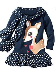 cheap -Girl's Christmas Birthday Animal Print Dress,Cotton Spring Long Sleeves Cartoon Navy Blue