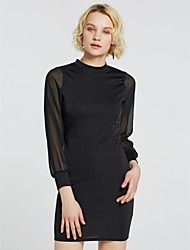 cheap -Women's Daily Bodycon Dress,Solid Crew Neck Above Knee Long Sleeves Polyester Summer Fall High Rise Micro-elastic Opaque