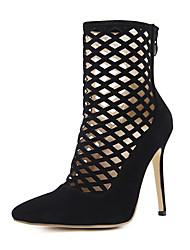 baratos -Mulheres Sapatos Courino Primavera / Outono Conforto / Inovador / Botas da Moda Botas Fitness Salto Agulha Ponta Redonda Botas Curtas /