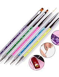 cheap -5pcs/set Sequins Handle Design 2 Sides Nail Art Dotting Pen UV Gel Polish Drawing Liner Flat Nail Brush Sets For Manicure Tools