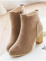 baratos -Mulheres Sapatos Couro Ecológico Primavera Inverno Conforto Botas Salto Robusto Dedo Fechado Ponta Redonda Botas Curtas / Ankle para