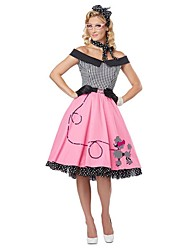 cheap -Vintage 1950s Costume Women's Party Costume Masquerade Pink Vintage Cosplay Cotton Sleeveless Cap Knee Length