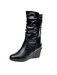 cheap -Women's Shoes PU Winter Fall Comfort Boots Walking Shoes Flat Round Toe Booties/Ankle Boots Side-Draped for Casual Black