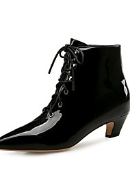 cheap -Women's Shoes Patent Leather Winter Fall Fashion Boots Boots Low Heel Pointed Toe Booties/Ankle Boots for Party & Evening Dress Black