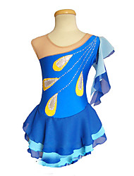 cheap -Figure Skating Dress Women's / Girls' Ice Skating Dress Blue Spandex Inelastic Performance / Practise Skating Wear Solid Colored
