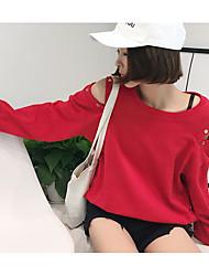 abordables -Mujer Tallas pequeñas Sudadera Casual/Diario Simple Un Color Escote Redondo Cinturón No Incluido Microelástico Algodón Mangas largas Otoño