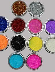 economico -36pcs colori misti piccolo delicato nail art unghie polvere glitter stagnola arte striscia di polvere in polvere arylic per le decorazioni