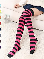 cheap -Socks / Long Stockings Sweet Lolita Dress Earring Princess Lolita Women's Ink Blue Fuschia Yellow Green Red Lolita Accessories Lines /