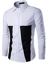 メンズ お出かけ カジュアル/普段着 シャツ,アジアン・エスニック シャツカラー カラーブロック ポリエステル 長袖
