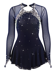 Figure Skating Dress Women's Girls' Ice Skating Dress Dark Blue Spandex Rhinestone High Elasticity Performance Skating Wear Handmade