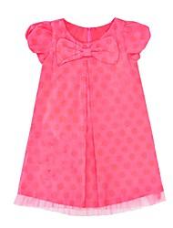 cheap -Girl's Daily Dot Dress,Cotton Summer Short Sleeves Cartoon Blushing Pink
