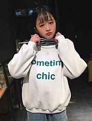 abordables -Mujer Tallas pequeñas Sudadera Noche Casual/Diario Simple Estampado Escote Redondo Sin Forro Microelástico Poliéster Mangas largas