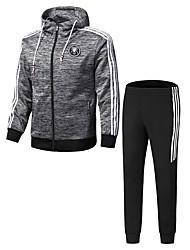 Χαμηλού Κόστους Ανδρικά φούτερ με κουκούλα σε μεγάλα μεγέθη-Ανδρικά Μακρυμάνικο Activewear Σετ - Μονόχρωμο Στρογγυλή Λαιμόκοψη
