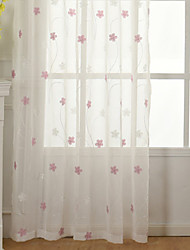 cheap -Grommet Top Double Pleat Pencil Pleat Curtain Modern, Embroidery Floral Bedroom Polyester Blend Material Sheer Curtains Shades Home