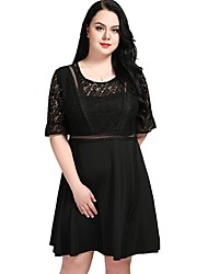 cheap -Cute Ann/Really Love Women's Work Vintage A Line Lace Skater Dress - Solid Colored Lace High Waist
