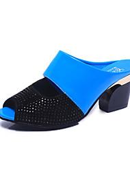 preiswerte -Damen Schuhe PU Sommer Komfort Sandalen Blockabsatz Peep Toe Strass für Normal Schwarz Orange Beige Blau