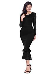 abordables -Gaine Robe Femme Soirée Sexy,Couleur Pleine Col Arrondi Maxi Manches longues Polyester Spandex Hiver Taille haute Micro-élastique Opaque