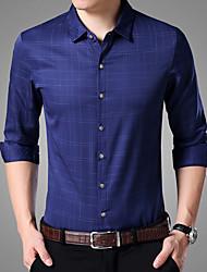 Masculino Camisa Social Casual Vintage Houndstooth Algodão Colarinho de Camisa Manga Comprida