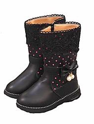 Pige Sko PU Vinter Efterår Militærstøvler Støvler Støvletter Rosette Imitationsperler for Afslappet Sort Rød Lys pink