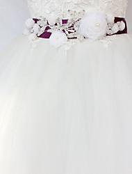baratos -Cetim/Tule Casamento Ocasião Especial Faixa With Cristais Floral Mulheres Faixas