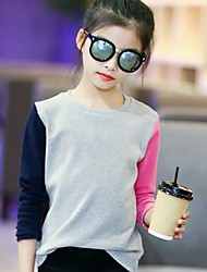 cheap -Girls' Color Block Tee,Cotton Spring Fall Simple Gray