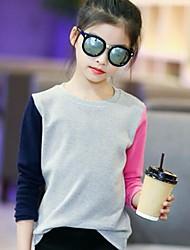 preiswerte -Mädchen T-Shirt Einfarbig Baumwolle Frühling Herbst Einfach Grau