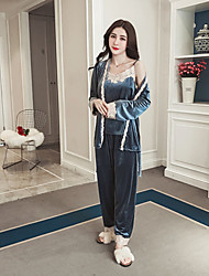 cheap -Women's Suits Pajamas,Lace Solid Cashmere Gray Blushing Pink Red Green Blue