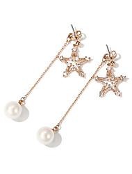baratos -Mulheres Estrela Imitação de Pérola 2pçs Brincos Curtos / Brincos Compridos - Fashion / Coreano Dourado Brincos Para Diário / Para Noite