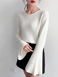 Women's Casual/Daily Simple Short Pullover,Solid Round Neck Long Sleeve Polyester Winter Fall Thick strenchy