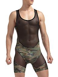 billige Undertøy og sokker til herrer-Herre Uelastisk Underskjorte Blank-Ensfarget Polyester 1pc Svart