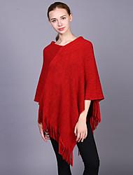Недорогие -Для женщин Прямоугольная,Зима Осень Шерсть Акрил Однотонный Черный Красный Серый Хаки