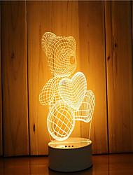 Недорогие -1 комплект 3d настроение ночной свет руки чувство dimmable usb питание подарок лампа медведь
