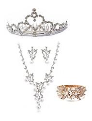abordables -Femme Strass Perle / Imitation Diamant Papillon Ensemble de bijoux Bijoux de Corps / 1 Collier / 1 Bague - Mode / Européen Blanc Peigne /