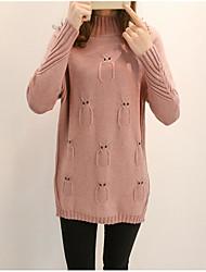 Dámské Jednoduchý Běžné/Denní Standardní Rolák Jednobarevné,Dlouhý rukáv Tričkový Polyester Zima Podzim Tlusté Lehce elastické