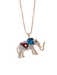 cheap -Women's Rhinestone Pendant Necklace Chain Necklace - Casual Lovely Elephant Geometric Necklace For Daily Date