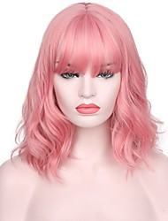 cheap -Women Synthetic Wig Short Water Wave Pink Natural Hairline With Bangs Natural Wigs Costume Wig