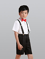 cheap -White Polyester Ring Bearer Suit - Four-piece Suit Includes  Shirt Pants Suspenders Bow Tie