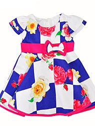 cheap -Girl's Daily Going out Floral Grid/Plaid Patterns Dress,Cotton Summer Short Sleeves Cute Active Black Blue