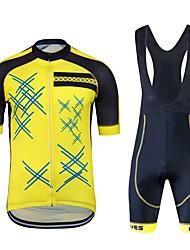 abordables -Wisdom Leaves Manches Courtes Maillot et Cuissard à Bretelles de Cyclisme - Noir/jaune. Vélo Ensemble de Vêtements, Séchage rapide