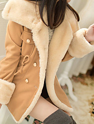 cheap -Women's Going out Casual/Daily Vintage Cute Active Winter Fall Trench Coat,Solid Stand Long Sleeve Regular Polyester