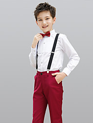 cheap -Burgundy 100%Cotton Ring Bearer Suit - Four-piece Suit Includes  Pants Bow Tie Shirt Suspenders