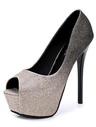 preiswerte -Damen Schuhe Tüll Frühling Sommer Pumps High Heels Stöckelabsatz Peep Toe für Normal Gold Silber Fuchsia