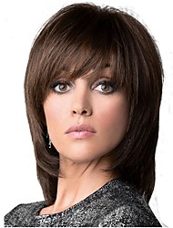 cheap -Synthetic Wig Straight Layered Haircut Synthetic Hair Brown Wig Women's Medium Length Capless