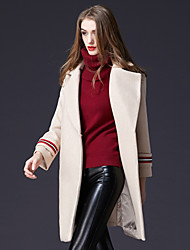 Dámské Barevné bloky Běžné/Denní Práce Jednoduchý Aktivní Kabát-Zima Vlna Polyester Košilový límec Dlouhé rukávy Dlouhé