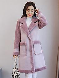 cheap -Women's Casual/Daily Simple Winter Fall Coat,Solid Shirt Collar Long Sleeve Long PU Lamb Fur