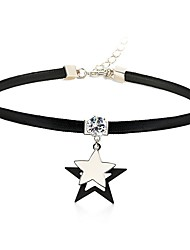 cheap -Women's Star Crystal Crystal Leather Choker Necklace - Simple Fashion Star Silver Necklace For Daily