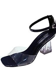 preiswerte -Damen Schuhe PU Sommer Komfort Sandalen Blockabsatz Peep Toe für Normal Schwarz