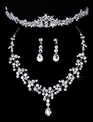 cheap -Women's Jewelry Set Classic Wedding Party Imitation Diamond 1 Necklace Earrings