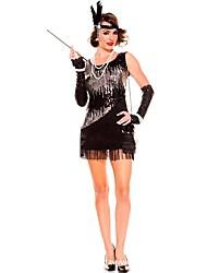 abordables -Gatsby le magnifique Années 20 Costume Femme Robes Robe de cocktail Robe à clapet Costume de Soirée Noir Vintage Cosplay Polyester Sans