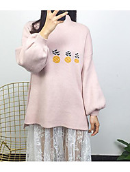 Women's Casual/Daily Simple Regular Pullover,Print Crew Neck Long Sleeves Japanese Cotton Winter Fall Thick High Elasticity
